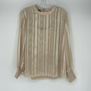 Alfani Womens Blouse Size L Gold Long Sleeve Camisole Underneath Career NWT